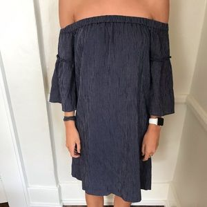 Madewell blue striped off the shoulder dress